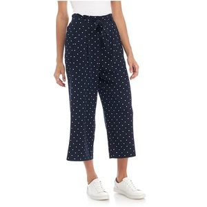 Madison blue polka dot crop pants